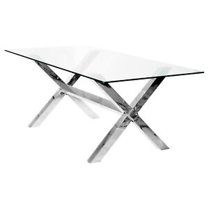 Clear Glass Crossly Rectangular Dining Table