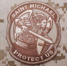 MODERN SAINT ST. MICHAEL PROTECT US USA ARMY DESERT VELCRO® BRAND FASTENER PATCH