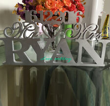Silver Mr & Mrs With Last NameWedding Reception Sign Solid Wooden Letters