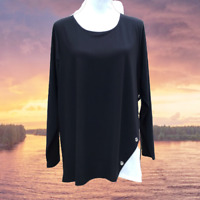 Retrology Womens Blouse Tunic Top 3X Career Stretch Pullover Pull Over Black NWT