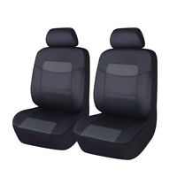 Universal Car Seat Cover 2 Fronts Pu Leather Waterproof Black Airbag Compitable