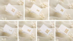 100 Gold Text White Clothing Garment Sizes Woven Labels - XXS, XS, S, M, L e.t.c