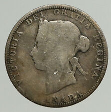 1870 CANADA UK Queen VICTORIA Authentic Antique OLD Silver 25 Cents Coin i93733