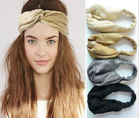 Women Retro Vintage Boho bohemian Metallic Cross scarf Hair head band bandana