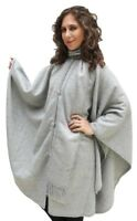 Alpaca Wool Cape Cloak with matching Scarf, Silver Gray