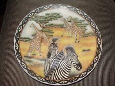 """Zebra & Giraffe Family"" Decorative 10"" Oriental Accents Plate"