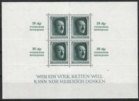 Stamp Germany Mi 648 Sheet WW2 3rd Reich Adolf's Birthday 25 Rpf MNH