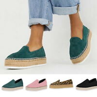 Women Platform Slip On Flat Shoes Espadrilles Casual Pumps Loafers Trainers US