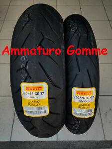 NEW COPPIA 120/70 17  180/55 17 +OMAGGIO PIRELLI DIABLO ROSSO 2 GOMME PNEUMATICI