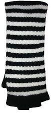 Ladies Stripe Cuff Fingerless Gloves Black & White One Size