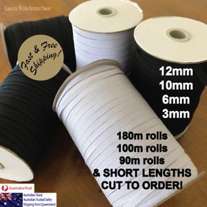 PREMIUM QUALITY Elastic Braided Band 3/6/10/12mm Black/White - FREE SHIPPING AU