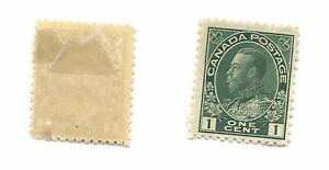 Canada 1 cent green - Scott # 104 - Mint, hinged - cat $40
