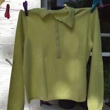 Magaschoni Green Cashmere Sweater Jumper Buttons Collar XL New