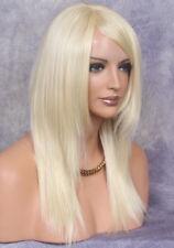 Human Hair Blend Beach blonde Bone Straight HEAT OK Full Wig Long bangs COS 613