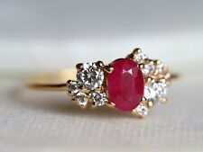 18k Gold Natural Ruby and Diamond Cluster Engagement Anniversary Ring For Her