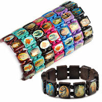 6PCs Saints Catholic Christian Jesus Wooden Wood Bracelets Bangle All Colours