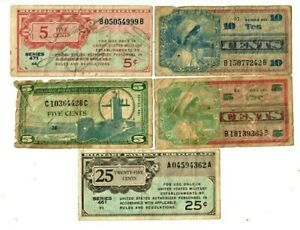 """5 FOR 1 """"MILITARY PAYMENT CERTIFICATES"""" (5 FOR 1) """"MILITARY PAYMENT"""" (5 FOR 1) !"""