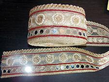 Espejo de vino de encaje oro indio boda traje de baile Apliques de cristal de la cinta