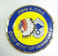 RARE! John A. Cole Chief Master Sergeant Dept Of The Air Force Challenge Coin!