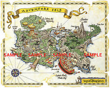 "Vintage Disney( Adventure Isle Map )11"" x 13.3/4"" Collector's Poster Print-B2G1F"