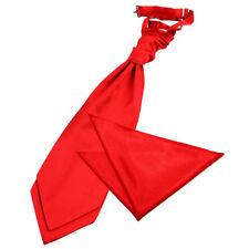 DQT Satin Plain Solid Red Wedding Pre-Tied Mens Cravat & Hanky Set Free Pin