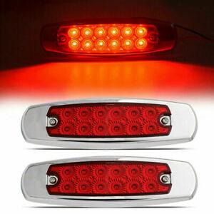 2x Red 12-LED Side Marker Lights Truck Trailer RV Clearance Light Waterproof 12V