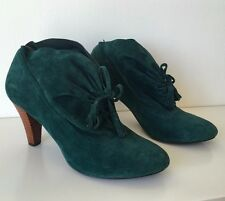 "Togut Booties in Green Suede - 3"" heel - Size 37, US Shoe Size 7"