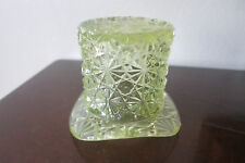 Vintage Fenton Daisy and Button Pressed Glass Top Hat Yellow Vaseline