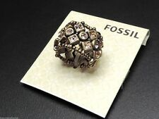 Fossil Mystic Stretch Ring Vintage Bronzetone Bronze Crystals Expandable New!