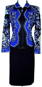 ST.JOHN Womens Suit Blue Black Silver Studs Sequins Jacket & NWT Skirt Sz 6-8