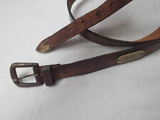 vtg levis brn harness leather 1404 belt 36 gold tone brass eagle logo distress