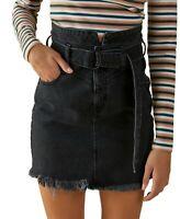 Guess Skirt Denim Belted Mini 80's Jean Women Black Sz S NEW NWT 464