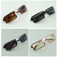 New Mens Womens Rectangular Eyewear Designer Fashion Double Metal Sunglasses