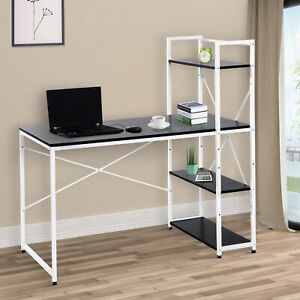 HOMCOM Computer Desk Study PC Table w/4-tier Bookshelf Metal Frame Black, White