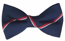 FREE POCKET SQUARE Royal Navy Pre Tied Striped Bow Tie Made In GB