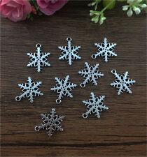 12pcs Snowflake Tibetan Silver fit Pendants bracelet beaded Charms DIY