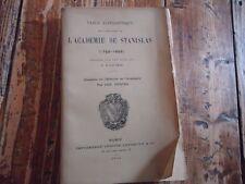 RARE LORRAINE -TABLE ALPHABETIQUE PUBLICATIONS DE L'ACADEMIE DE STANISLAS FAVIER