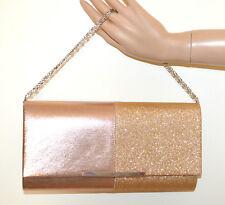 POCHETTE ORO ROSA BEIGE donna borsa borsello brillantini elegante clutch bag G74