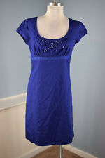 New Ann Taylor LOFT Royal Blue Empire Waist Cap Sleeve Dress S 6 embellished