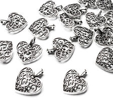 20 x 15mm Quality Silver Plated Filigree Love Heart Charms, Jewellery, Craft