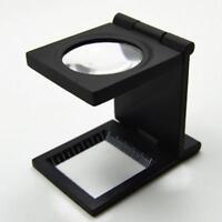 1 X 10X Faltbarer Kunststoff Lupen Optische Glas Leinen Tester mit Skala DE X5M8