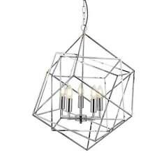Searchlight Cubetto Geometrico FRAME 5 Luce Soffitto Ciondolo in cromo 7865-5CC