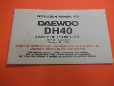 INSTRUCTION & PARTS LIST MANUAL DAEWOO DH40 Semi-Auto PISTOL, 21 pages of info