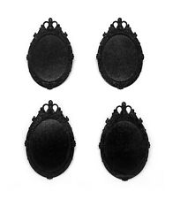 x 30mm Cameo Pin Brooch Pendant Frames 4 Shiny Black Metallic Royal Style 40mm