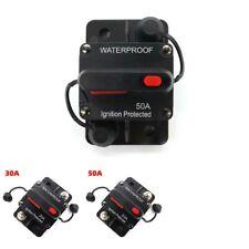 Waterproof Fuse Invert Manual Reset DC Circuit Breaker Inline 30/50Amp Black