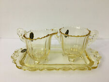 Yellow Cambridge Glass Sugar & Creamer w/Tray Martha Pattern 3 Piece Set