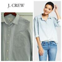 J CREW 16 XL 1X Button Down BOY SHIRT Top Blouse BLUE White Stripe Career    X