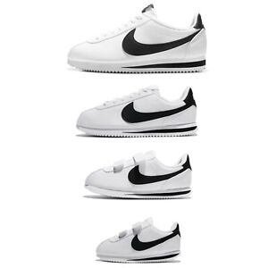 Nike Classic Cortez Leather White Black Family Shoes Mens Womens Kids Pick 1