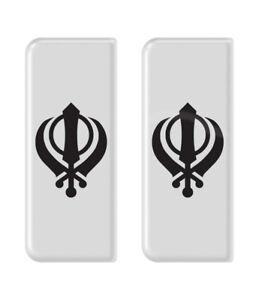 2x Black Khanda White B/G Gel Domed Number Plate Badges/Decals 107x42mm