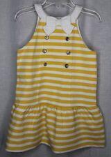 JANIE AND JACK Hamptons Hideaway Dress Girls Size 3 Yellow & White Stripes NWT